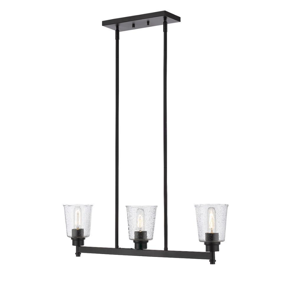 Filament Design 3 Light Matte Black Billiard Light With Clear Seedy Glass Hd Te85129 The Home Depot