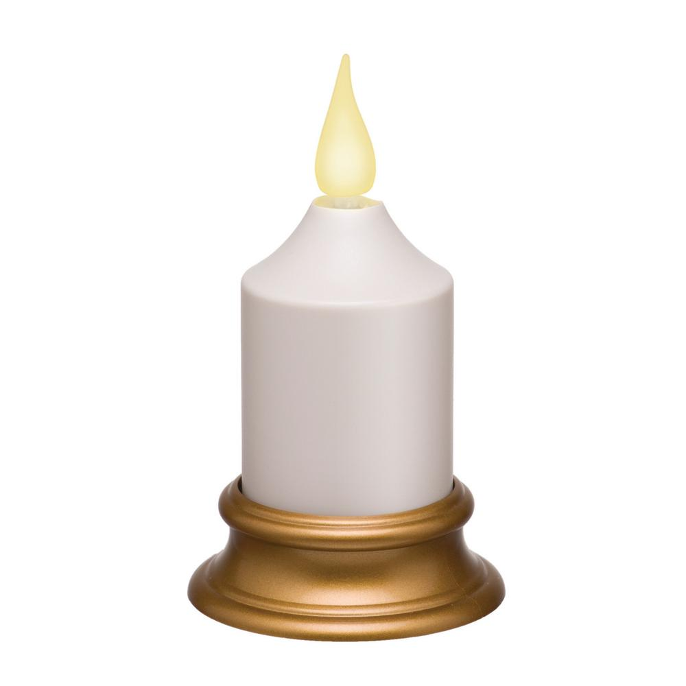 Home Accents Holiday Battery Operated White Super Bright Votive How To Build Electronic Candle Blow Out Schematic Amber Led With Antique Brass