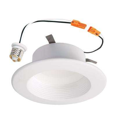 RL 4 in. White Integrated LED Recessed Ceiling Light Fixture Retrofit Baffle Trim with 90 CRI, 4000K Cool White