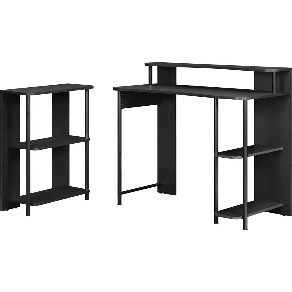 Altra Furniture Computer Desk and 5-Shelf Bookcase Set in Black