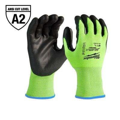 Large High Visibility Level 2 Cut Resistant Polyurethane Dipped Work Gloves