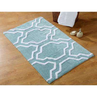 34 in. x 21 in. and 36 in. x 24 in. 2-Piece Cotton Bath Rug Set in Arctic Blue and White