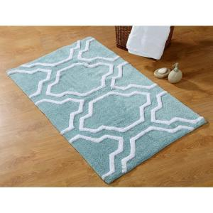 34 In X 21 And 36 24 2 Piece Cotton Bath Rug Set Arctic Blue White