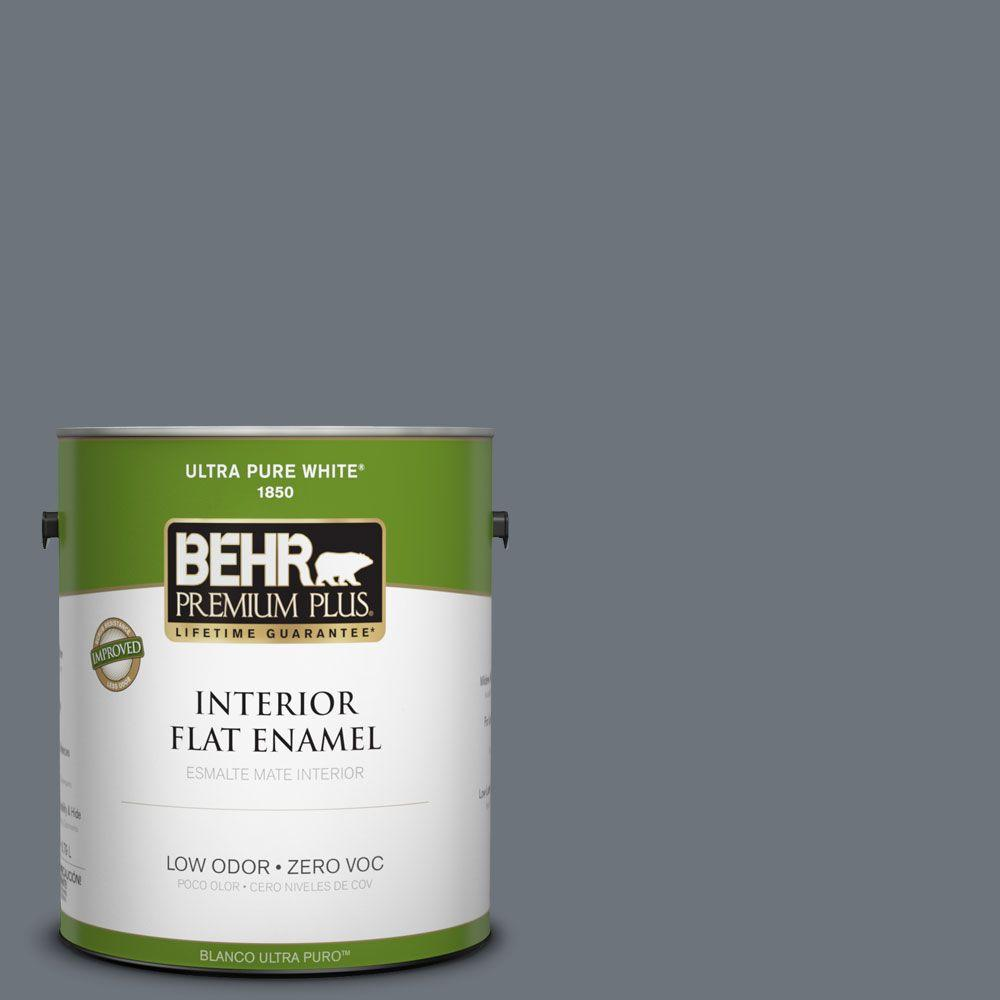BEHR Premium Plus 1-gal. #750F-5 Silver Hill Zero VOC Flat Enamel Interior Paint-DISCONTINUED
