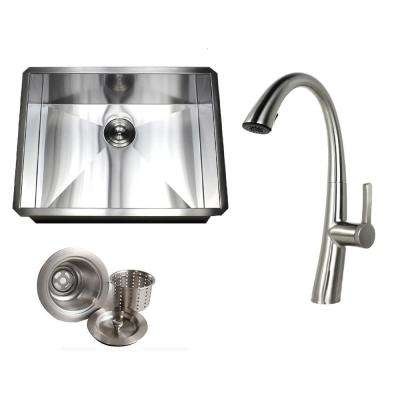 Undermount Deep Stainless Steel 26 in. x 20 in. x 10 in. 16-Gauge Zero Radius Single Bowl Kitchen Sink with Faucet Combo