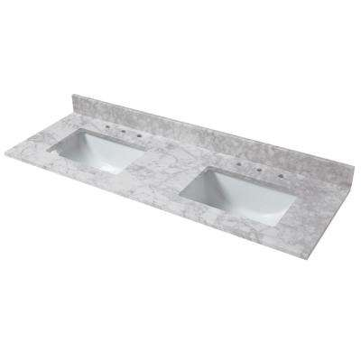 Stupendous 73 In W X 22 In D Marble Double Trough Sink Vanity Top In Carrara Download Free Architecture Designs Scobabritishbridgeorg