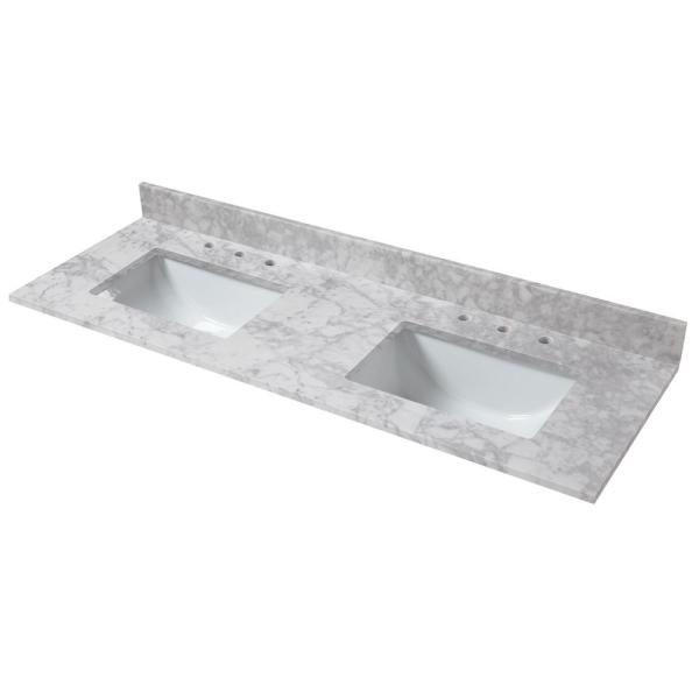 73 in. W x 22 in. D Marble Double Trough Sink Vanity Top in Carrara