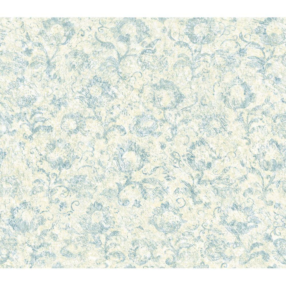 The Wallpaper Company 8 in. x 10 in. Blue and Beige Muted Floral Wallpaper Sample