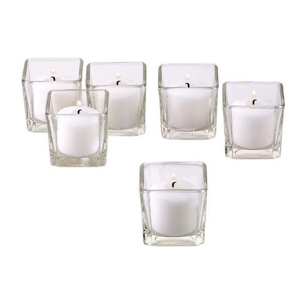 Clear Glass Square Votive Candle Holders with White Votive Candles (Set of 12)