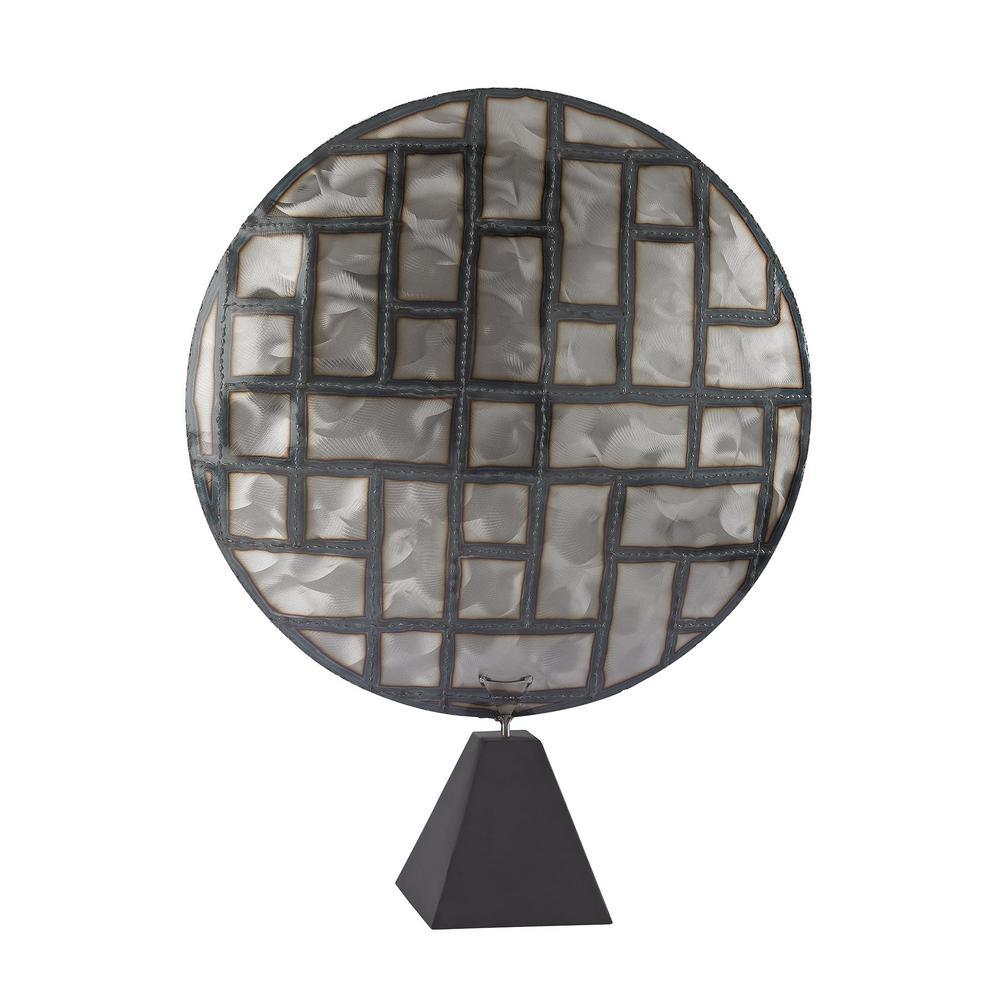 28 in. Parquetry in Metal Decorative Sculpture in Nickel