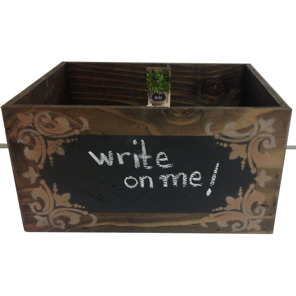 wooden chalkboard planter box 0081 the home depot rh homedepot com elevated planter box home depot elevated planter box home depot