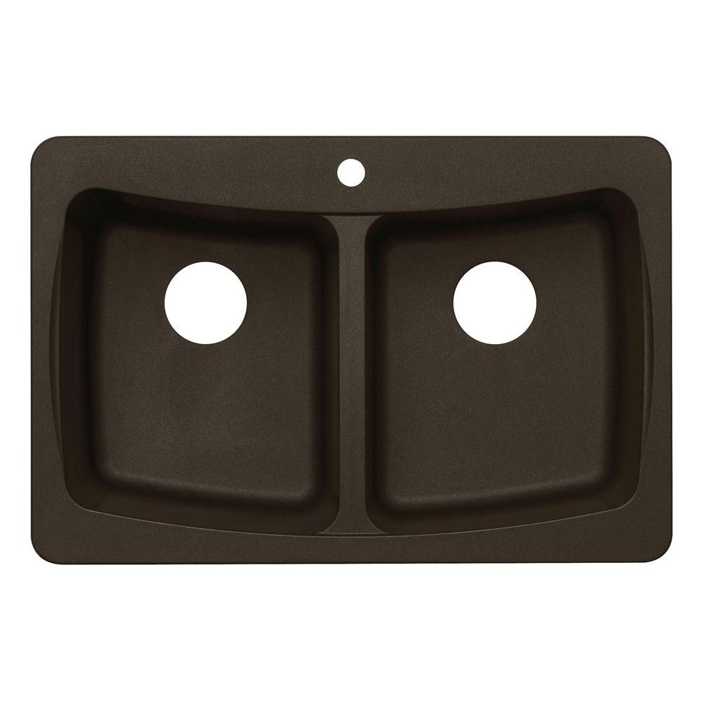 null Dual Mount Granite 33 in. 3-Hole Double Bowl Kitchen Sink in Metallic Chocolate