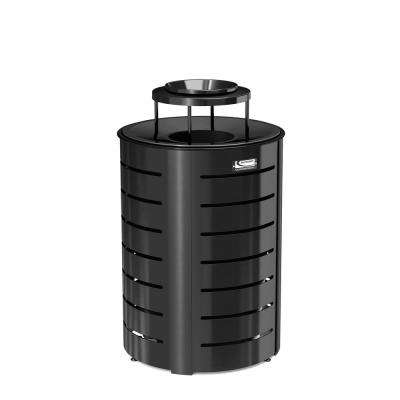 35 Gal. Black Metal Commercial Trash Can with Lid