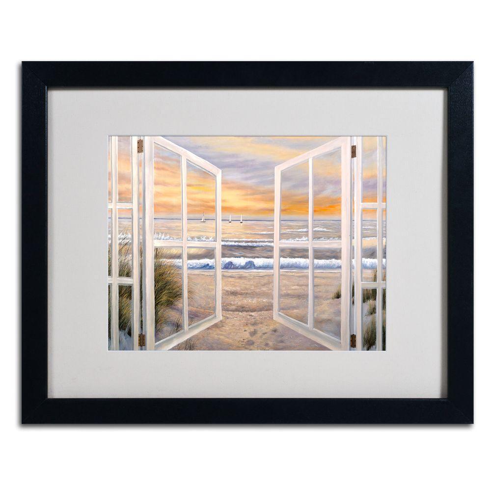"""Trademark Fine Art 16 in. x 20 in. """"Elongated Window"""" Black Matted Framed Art"""