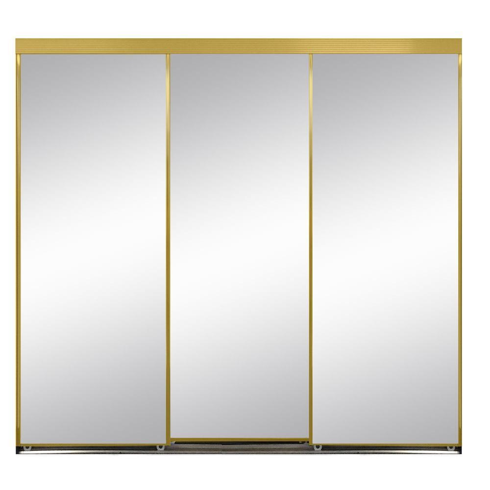 120 in. x 96 in. Polished Edge Mirror Framed with Gasket Interior Closet Aluminum  sc 1 st  The Home Depot & 120 x 96 - Gold - Door - Sliding Doors - Interior u0026 Closet Doors ...