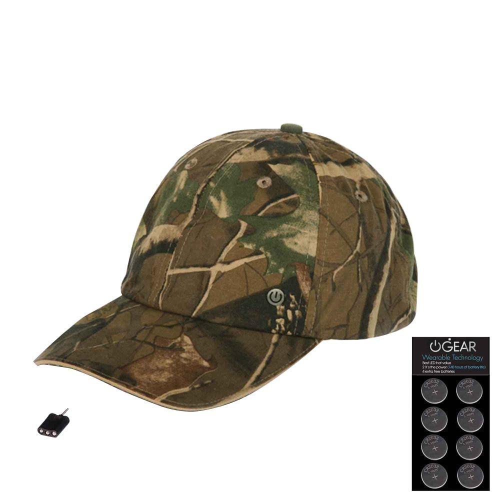 Power Gear Coin Battery Hat with Attachable LED Light, Camo