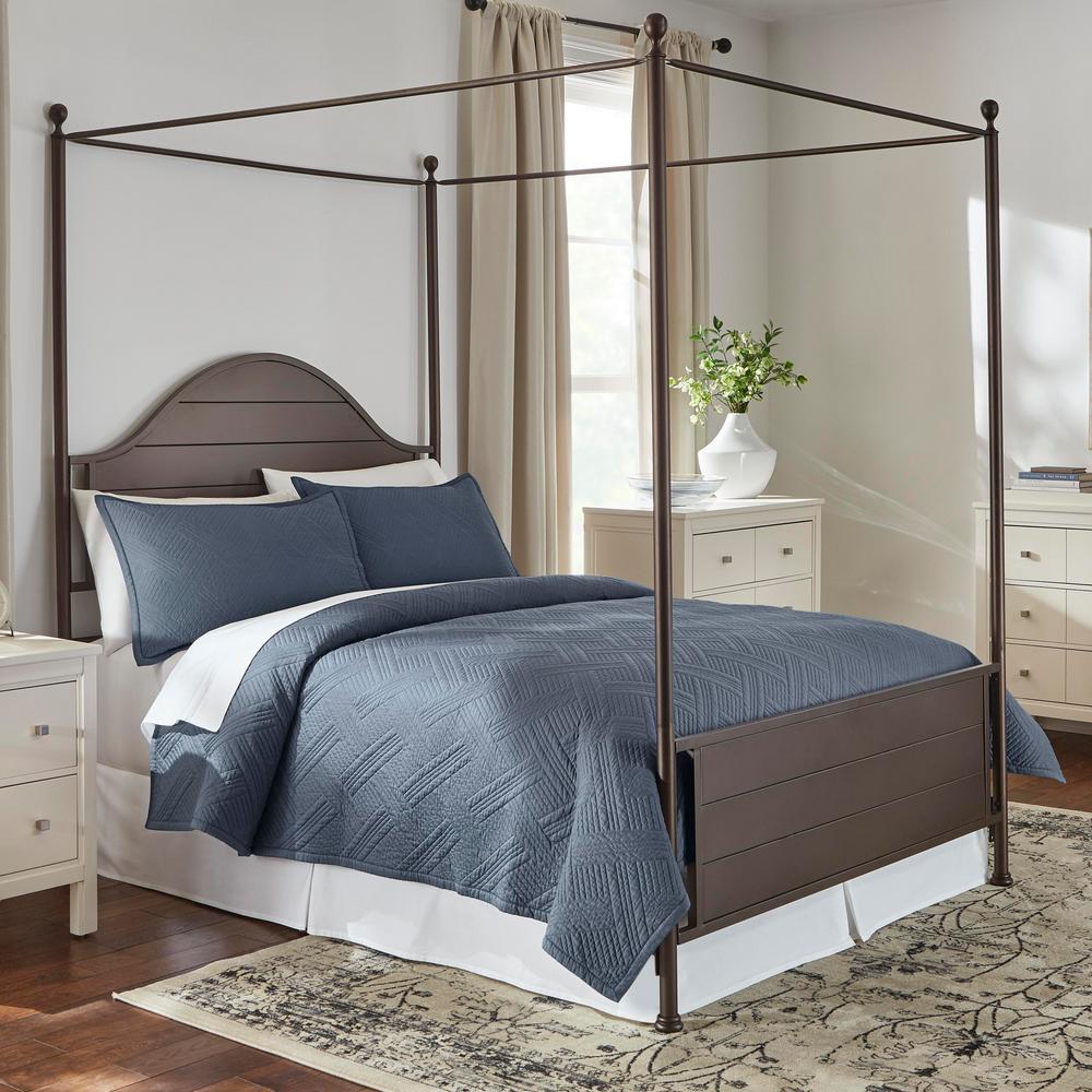 Binghamton 3-Piece Steel Blue Solid Cotton King Quilt Set