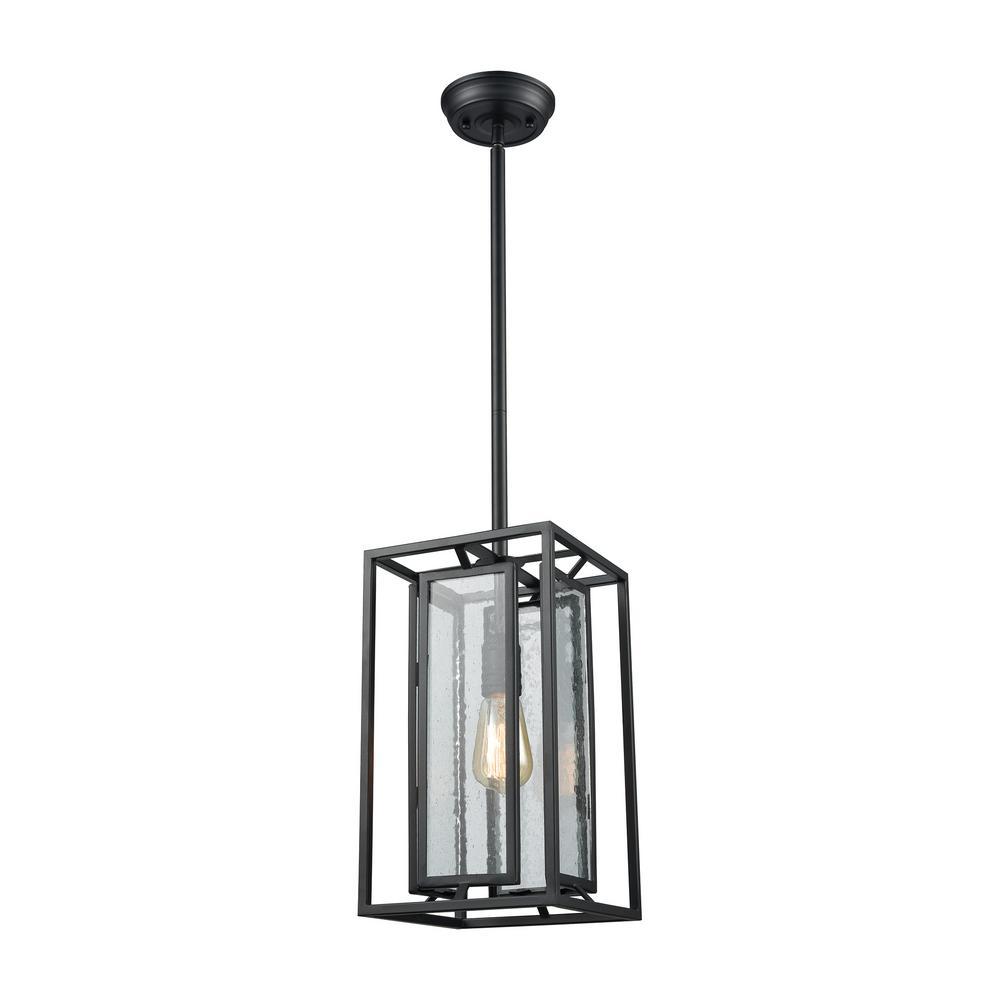 Elk Lighting Hamel: Titan Lighting Adriano 1-Light Gloss Black With Clear