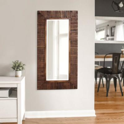 Large Rectangle Walnut Stain Beveled Glass Contemporary Mirror (48 in. H x 24 in. W)