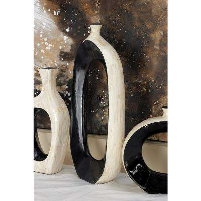 24 in. Lopsided Black and White Ceramic and Shell Decorative Vase