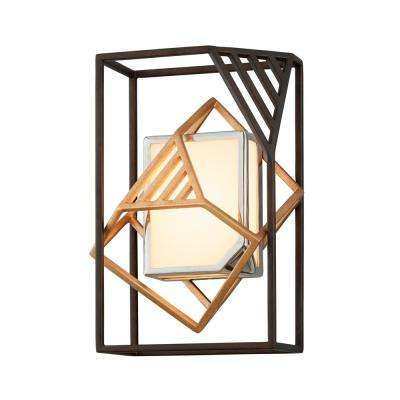 Cubist 40-Watt Bronze with Gold Leaf and Polished Stainless Integrated LED Wall Sconce with White Acrylic Shade