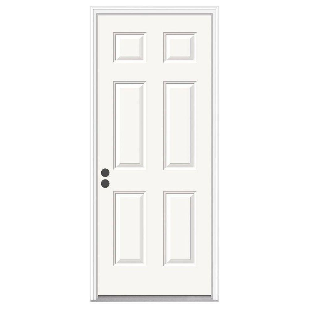 6-Panel Primed Steel Prehung Right-Hand Inswing Front Door w/Brickmould-THDJW166100254 - The Home Depot