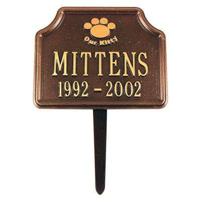 Antique Copper Our Kitty Cat Paw Two Line Lawn Marker