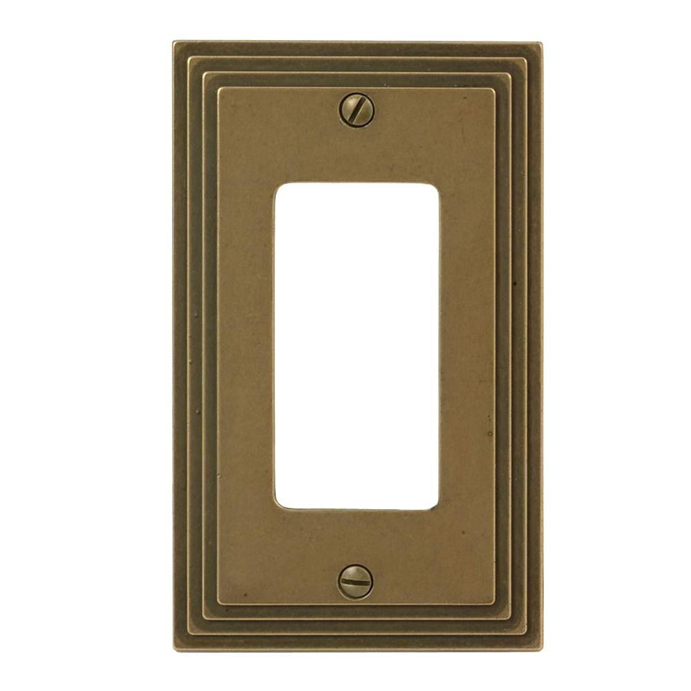 Amerelle Steps 1-Gang Decora Wall Plate - Rustic Brass
