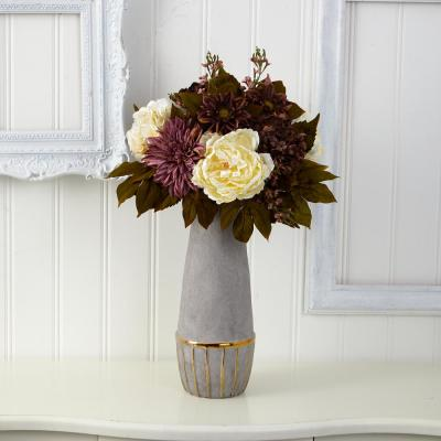24 in. Peony, Hydrangea and Dahlia Artificial Arrangement in Stoneware Vase with Gold Trimming