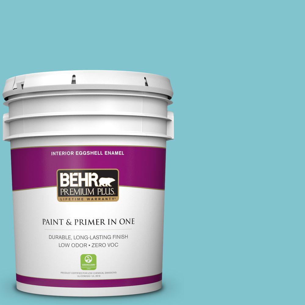 BEHR Premium Plus 5-gal. #520D-4 Shallow Sea Zero VOC Eggshell Enamel Interior Paint, Blues