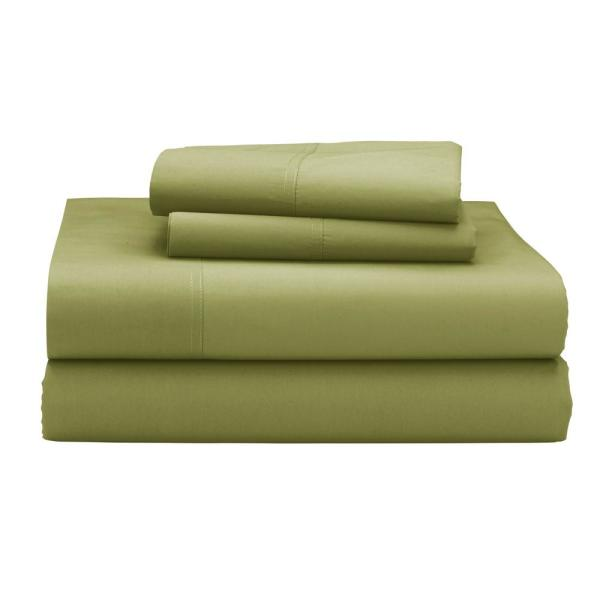 The Company Store Company Cotton 3-Piece Celery 300 Thread Count Percale