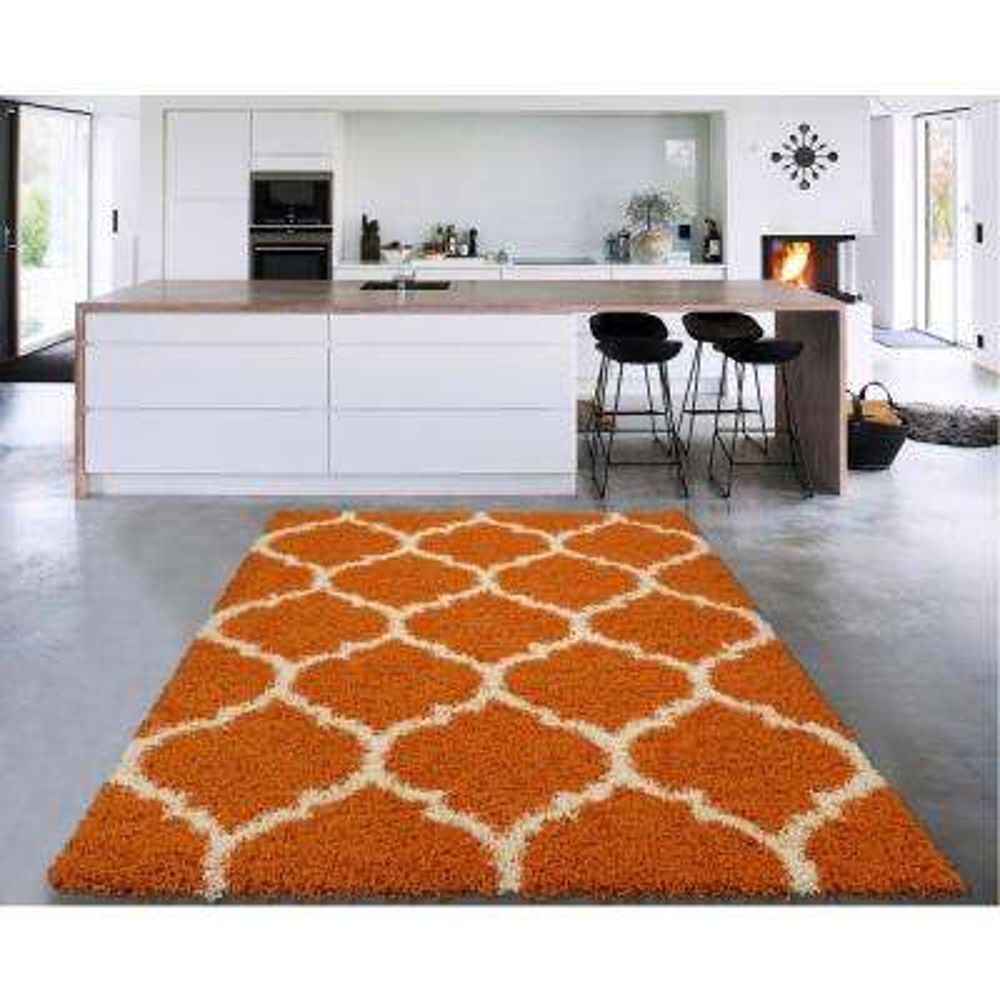 Cozy Shag Collection Orange/Cream Moroccan Trellis Design 8 ft. x 10 ft. Contemporary Shag Area Rug