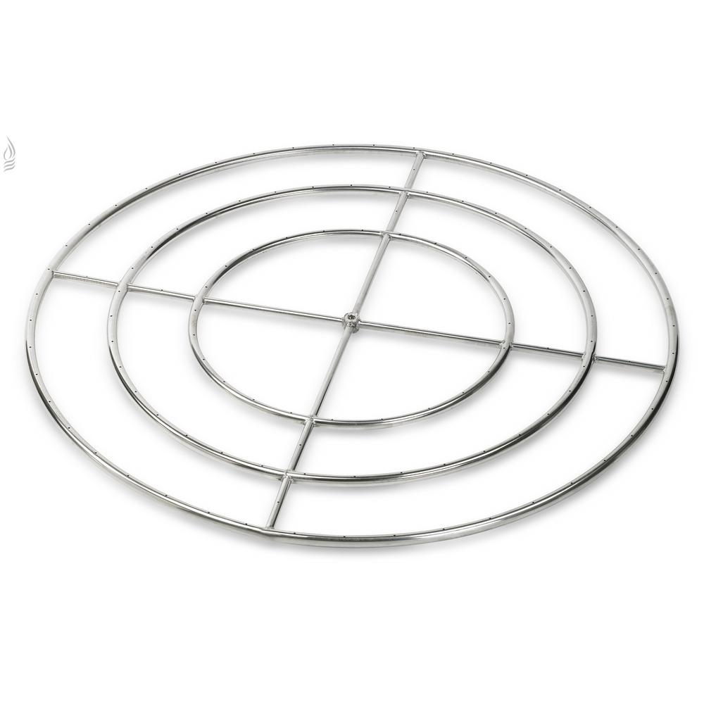American Fire Glass 48 in. Triple-Ring 304. Stainless Steel Fire Pit ...