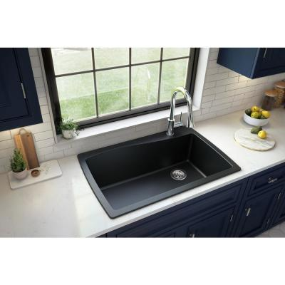 Drop-In Quartz Composite 34 in. 1-Hole Single Bowl Kitchen Sink in Black