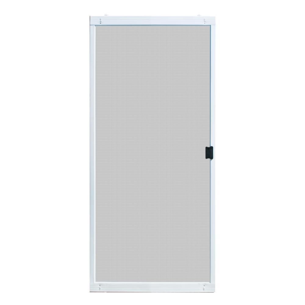 36 in. x 80 in. Adjustable Fit White Metal Sliding Patio Screen Door