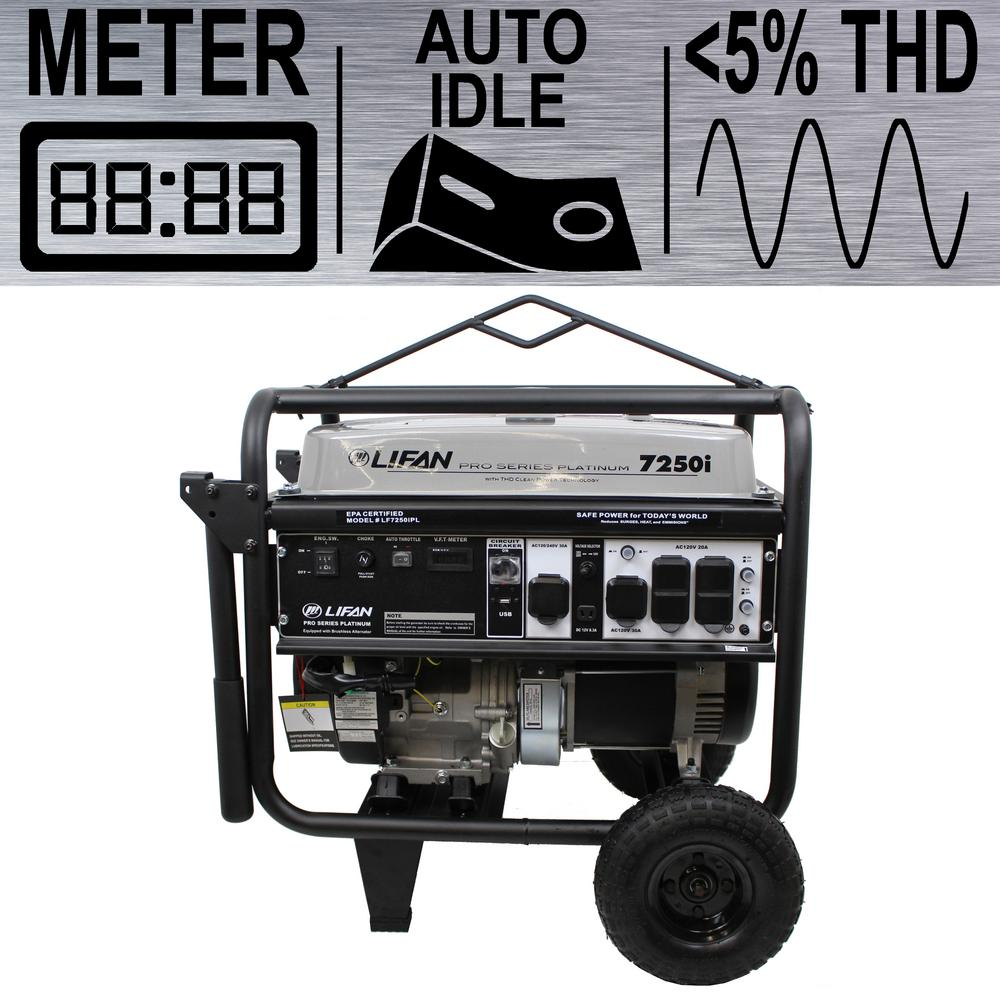 LIFAN Platinum Series 7,250/6,500-Watt Gasoline Powered Portable Generator  with THD Clean Sine Wave Power