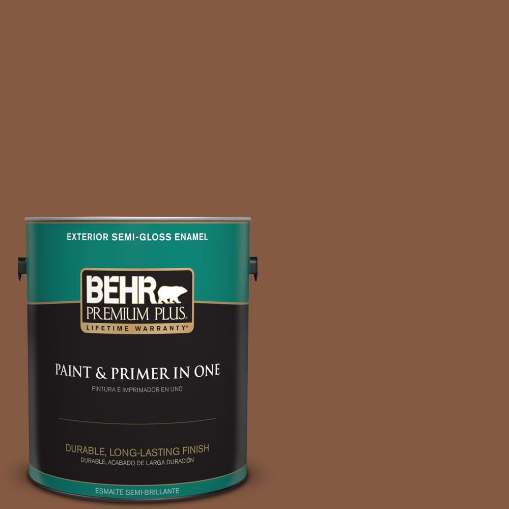 1-gal. #ICC-80 Cinnamon Spice Semi-Gloss Enamel Exterior Paint