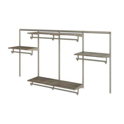 Closet Culture 16 in. D x 96 in. W x 48 in. H Steel Closet System with 6 Driftwood Wood Shelves