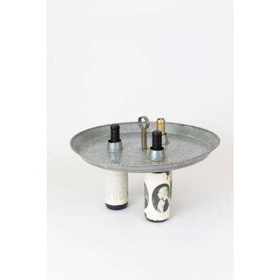Grey Galvanized Metal 3-Bottle Topper with Knock Down Handle and Beaded Brass Detailing
