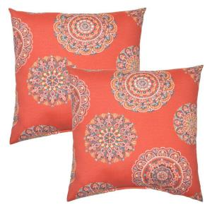 Blush Medallion Square Outdoor Throw Pillow (2-Pack)