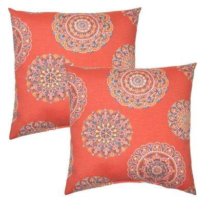 Blush Medallion Square Outdoor Throw Pillow (2 Pack)