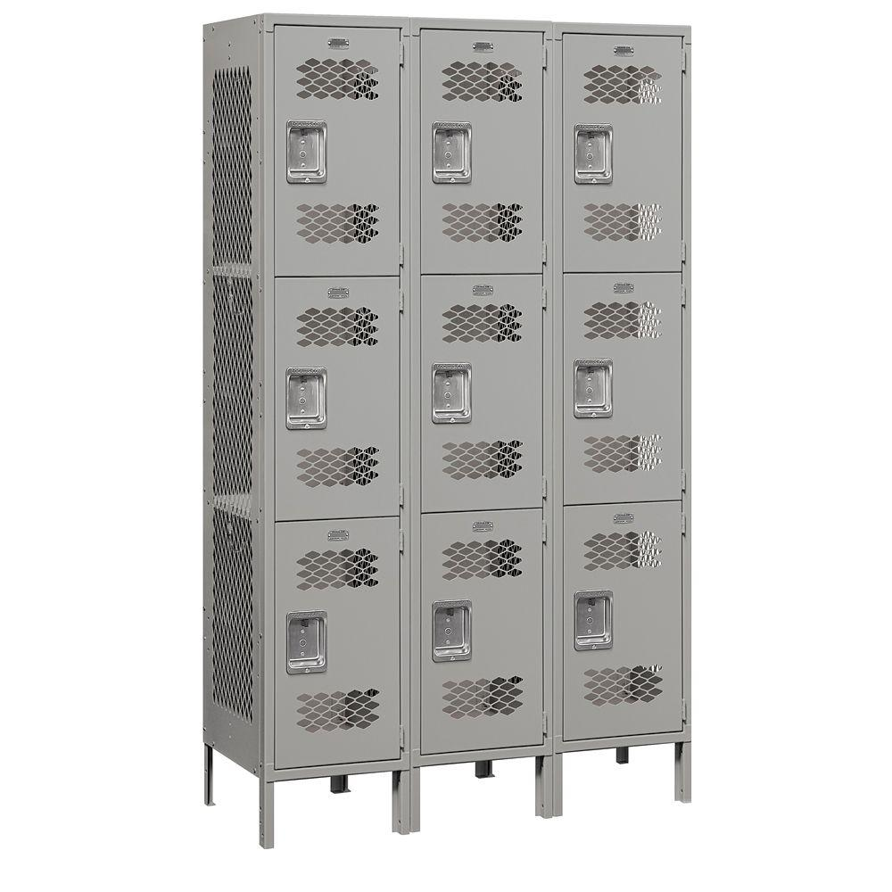Salsbury Industries 83000 Series 45 in. W x 78 in. H x 18 in. D 3-Tier Extra Wide Vented Metal Locker Assembled in Gray