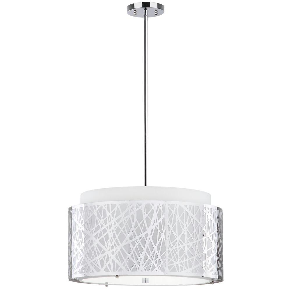 Safavieh Double Tree 3 Light Chrome Pendant With Off White Shade