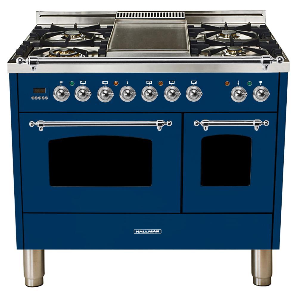 40 in. 4.0 cu. ft. Double Oven Dual Fuel Italian Range True Convection, 5 Burners, Griddle, LP Gas, Chrome Trim in Blue