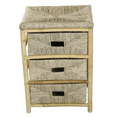 Shelly Assembled 18.5 in. x 18.5 in. x 15.25 in. Bamboo Accent Storage Cabinet with 3 Baskets