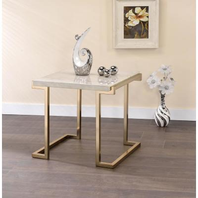 Boice II Faux Marble and Gold End Table
