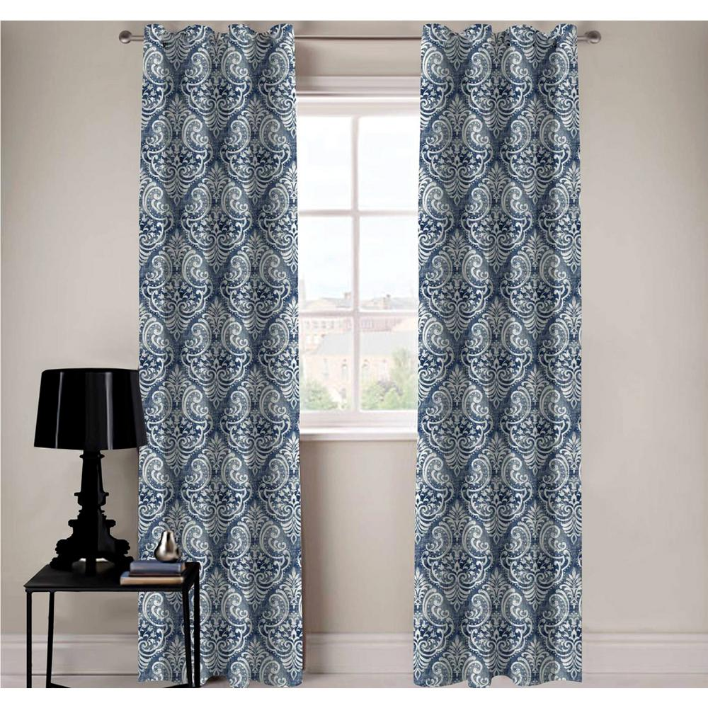 A1 Home Collections Royal Damask Designer Organic Cotton Drapery
