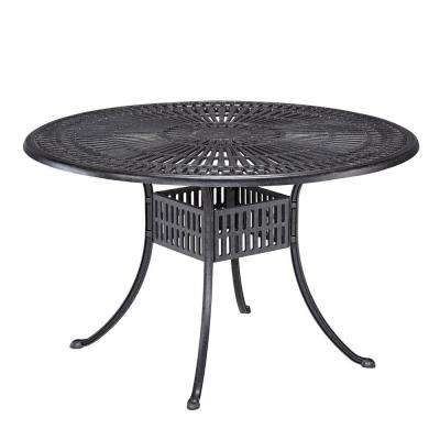 Round Patio Dining Table  sc 1 st  Home Depot & Round - Cast Aluminum - Gray - Patio Tables - Patio Furniture - The ...
