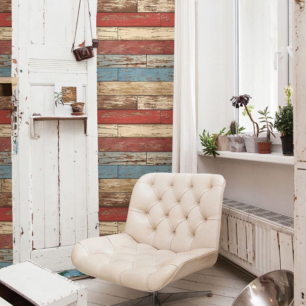 Red Scrap Wood Weathered Wallpaper