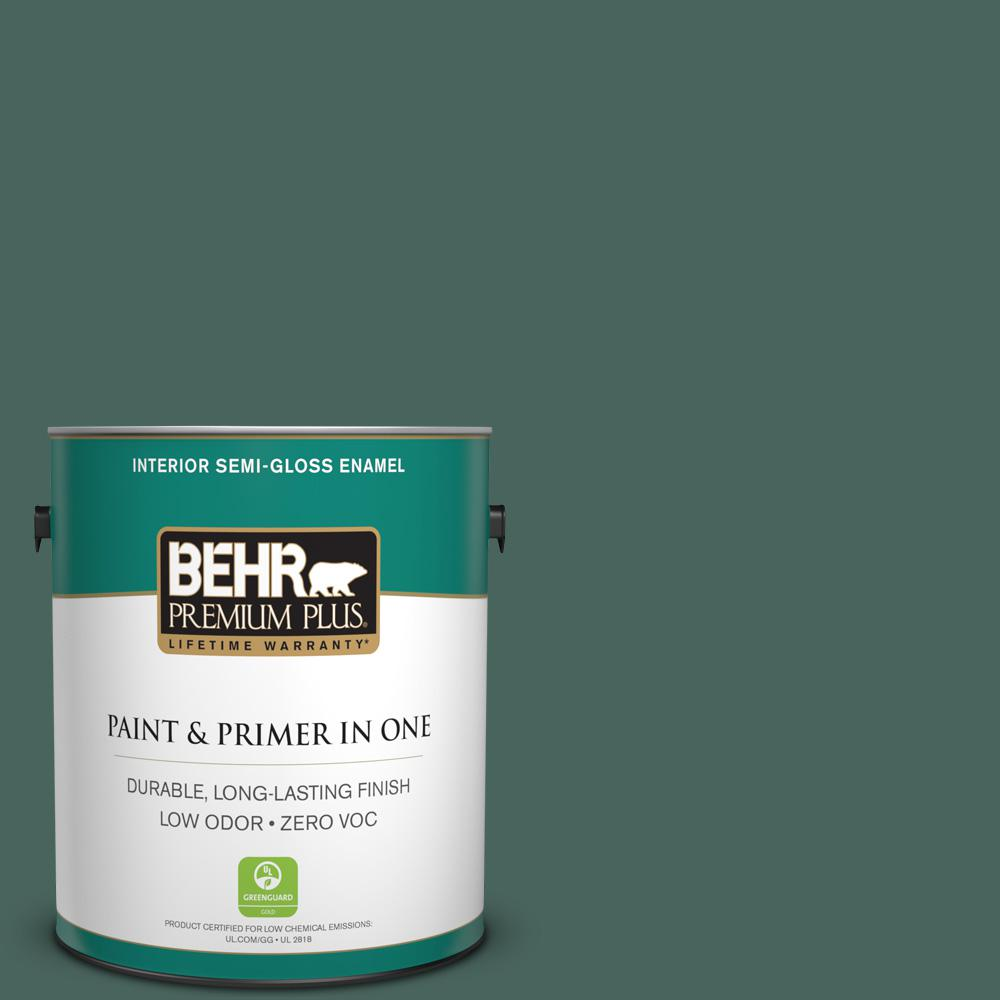 BEHR Premium Plus 1-gal. #S430-7 Blue Fir Semi-Gloss Enamel Interior Paint